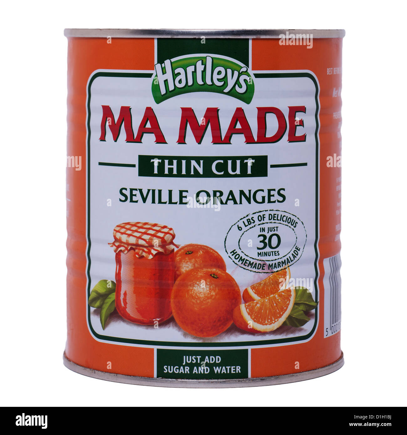 A tin of Hartley's Ma Made thin cut seville oranges on a white background - Stock Image