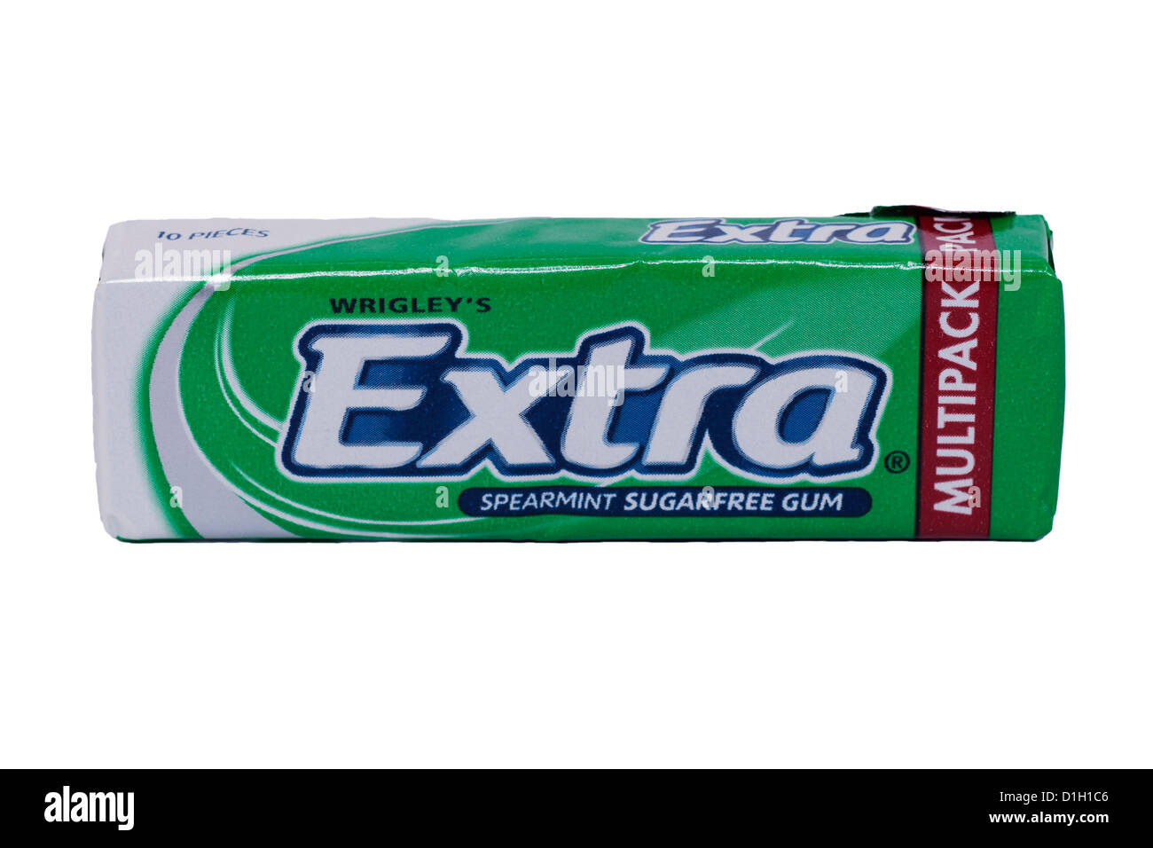 A packet of Wrigley's Extra spearmint sugarfree chewing gum on a white background - Stock Image