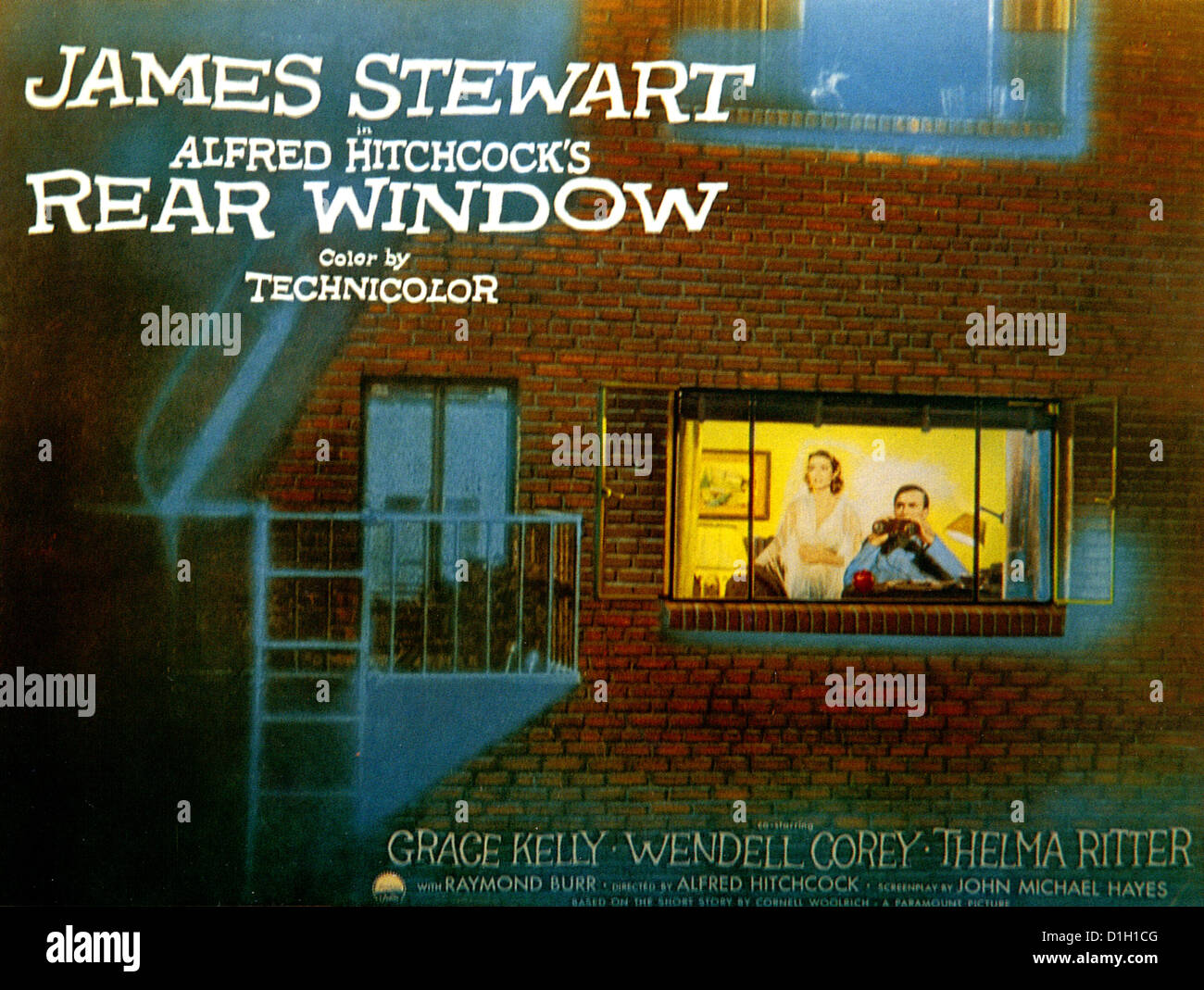 REAR WINDOW Poster for 1954 Paramount film with James Stewart and Grace Kelly directed by Alfred Hitchcock - Stock Image