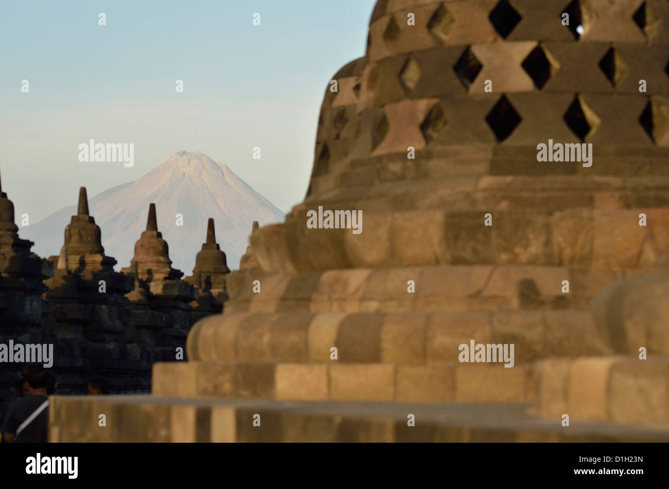 Wonderful views of the Mount Merapi as well as some stupa from the top of Borobudur; Central Java, Indonesia. - Stock Image