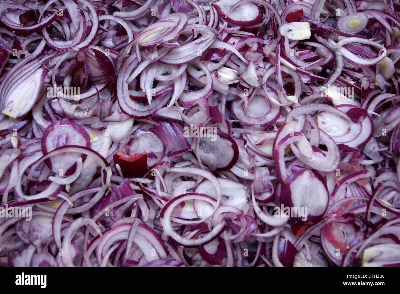sliced red onion - Stock Image