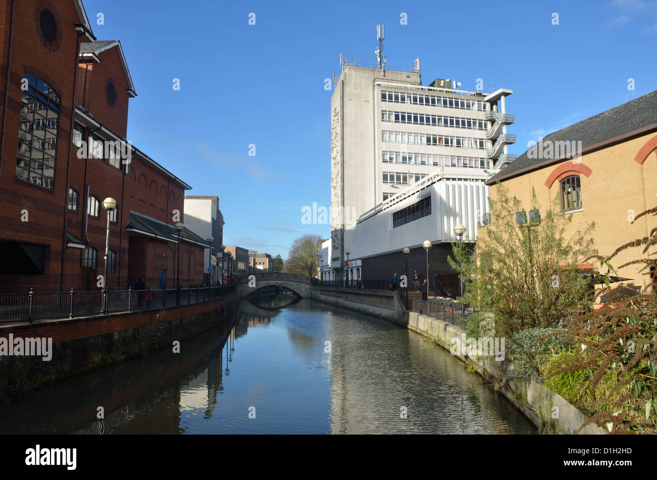 river cam through chelmsford town centre - Stock Image