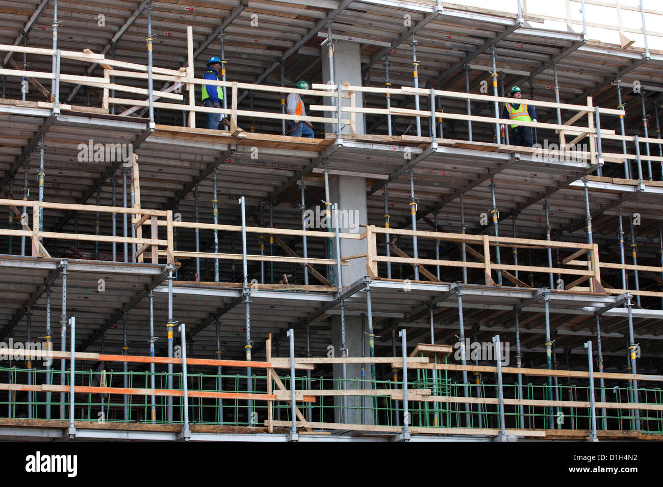 Shoring system used as temporary floor support during building construction - Stock Image