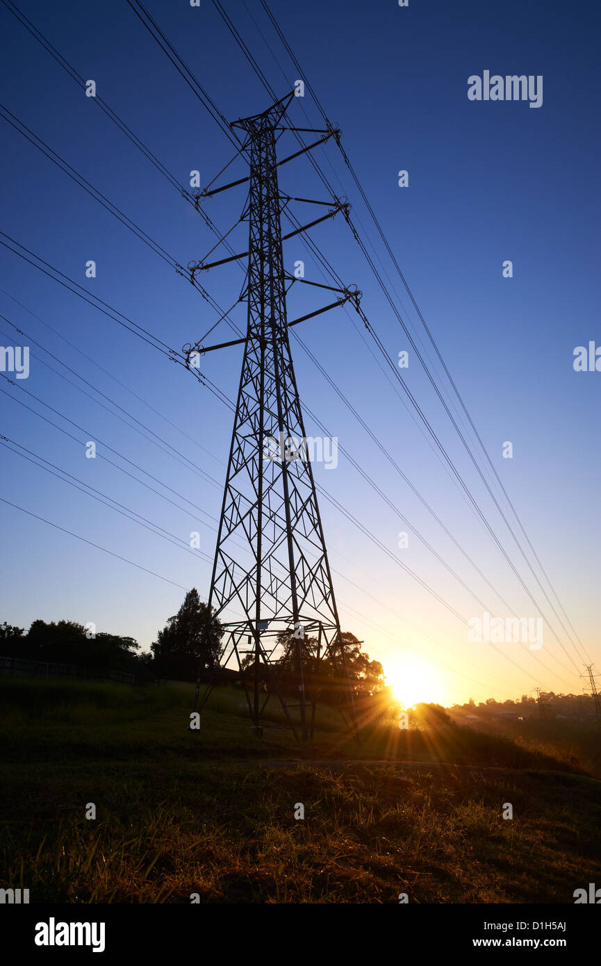 Silhouetted electricity pylons and worker in hard hat - Stock Image