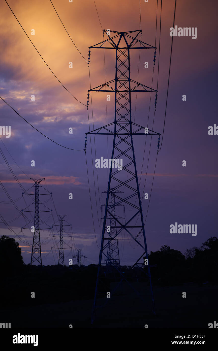 Electricity pylons - Stock Image