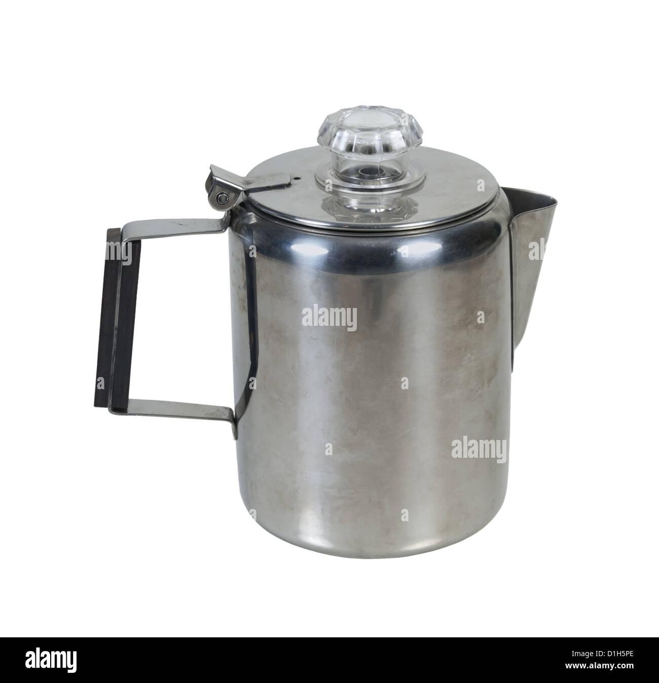 Retro perculator coffee pot for making coffee - path included - Stock Image