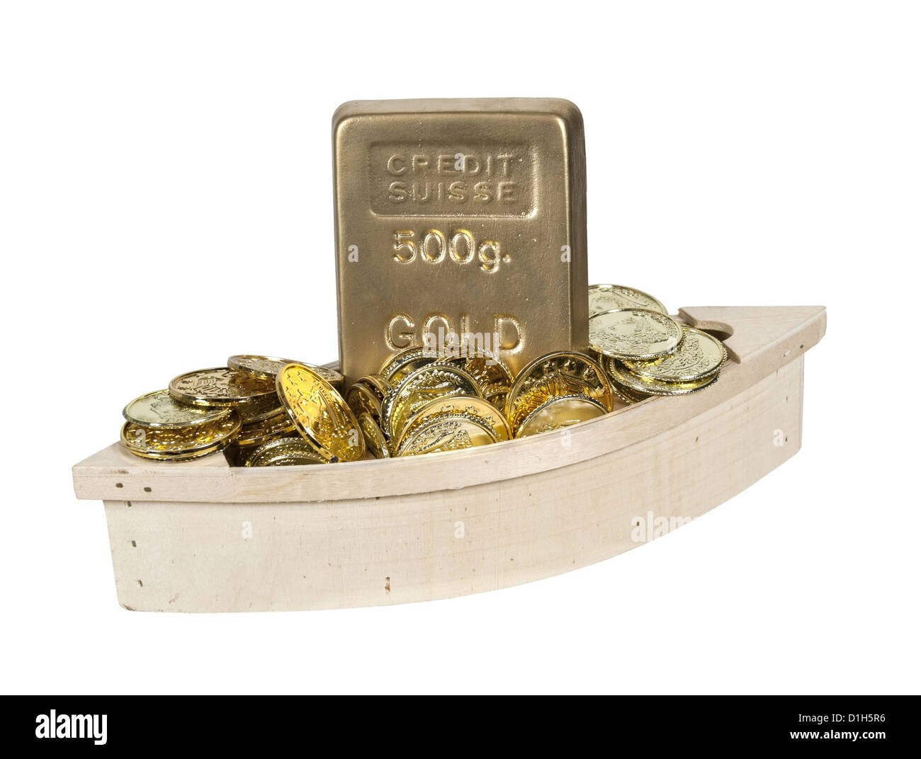 Wooden boat filled with gold coins and gold bars - path included - Stock Image