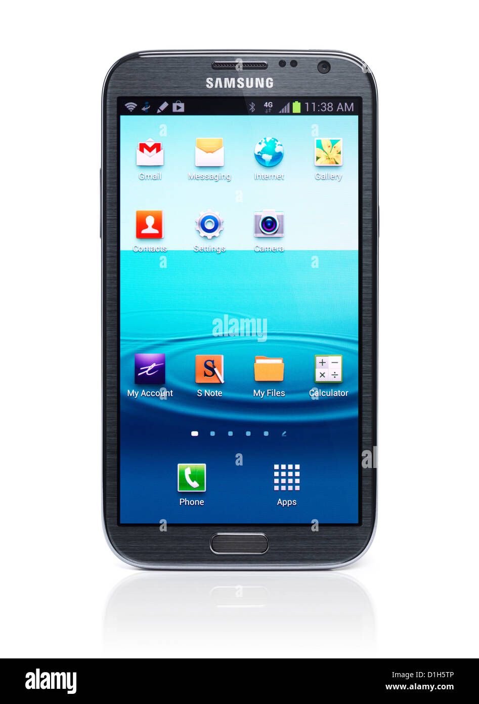 Samsung Galaxy Note 2 Android smartphone isolated on white background with clipping path - Stock Image
