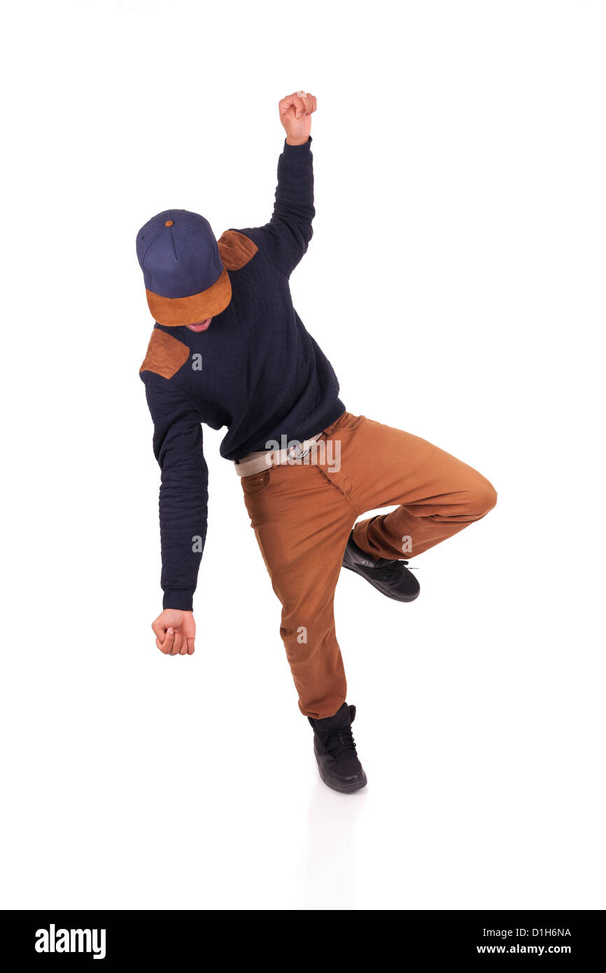 African dancer breakdance isolated over white background - Stock Image