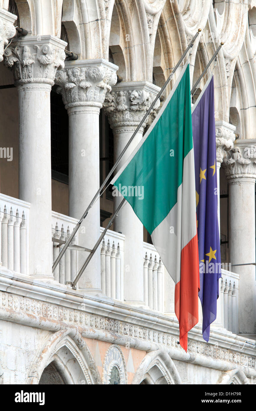 Flags of Italy, and the European Union in Venice, Italy. - Stock Image