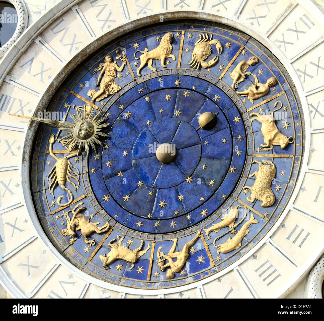 Astronomical Clock Tower (Torre dell'Orologio) Details. St. Mark's Square (Piazza San Marko), Venice, Italy. Tilt Stock Photo