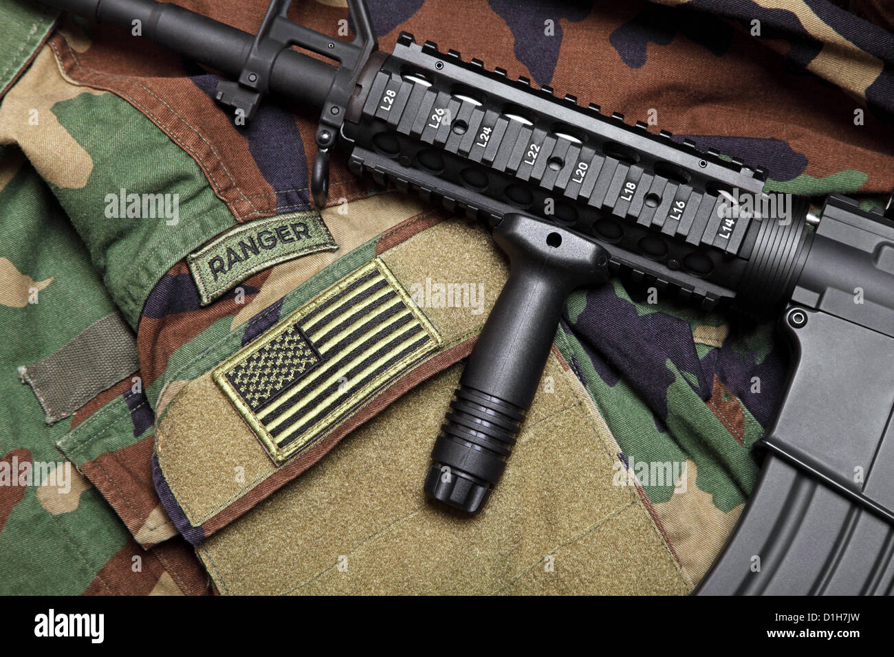 U.S. Army Ranger Woodland Camo BDU With The Tactical Carbine On It. - Stock Image