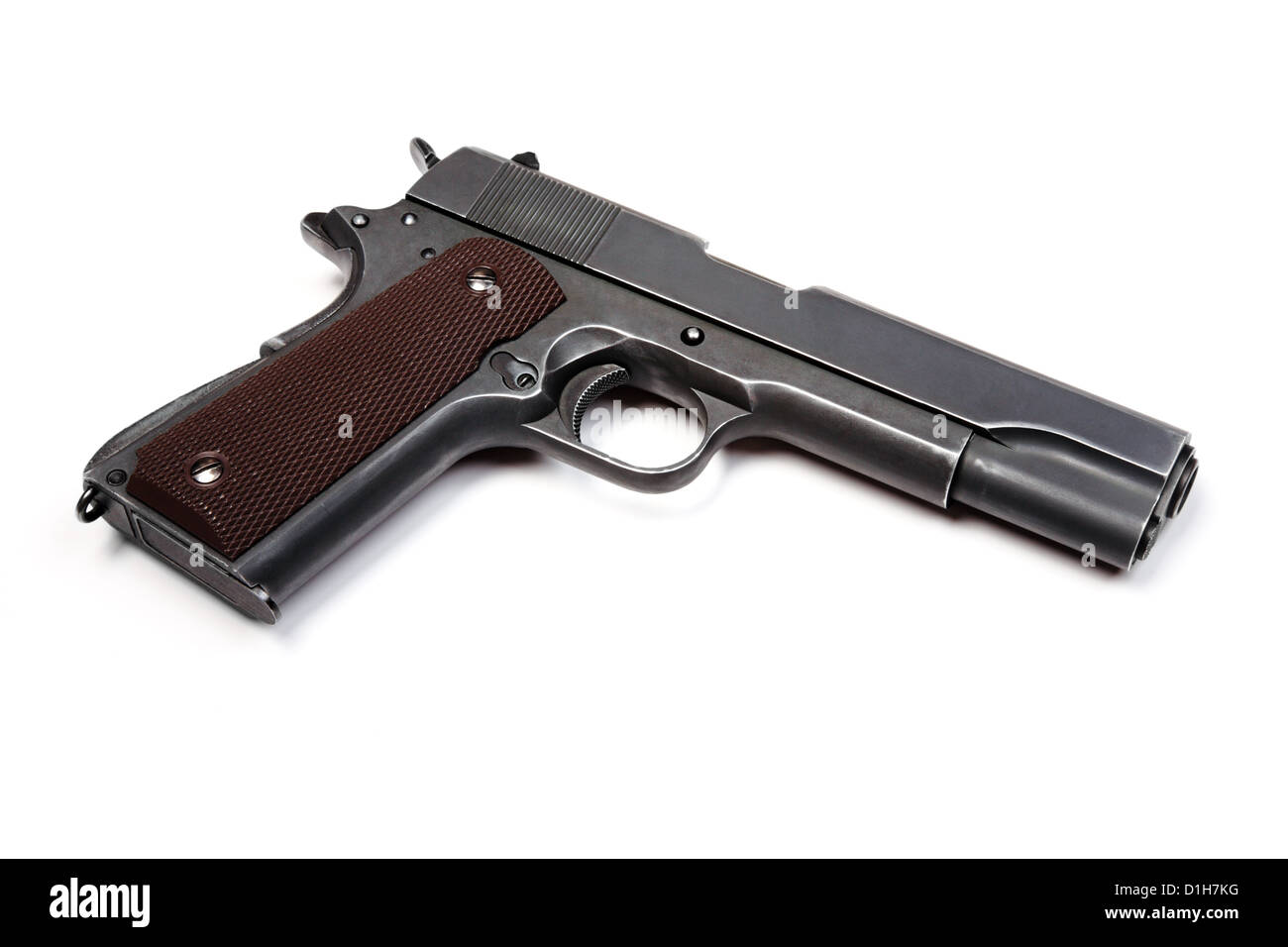 U.S. Army Colt 1911A1 pistol isolated on a white background. Studio shot. - Stock Image