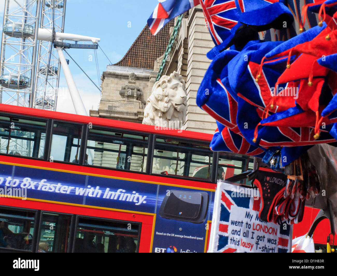 London Eye and Red Bus Westminster London England - Stock Image