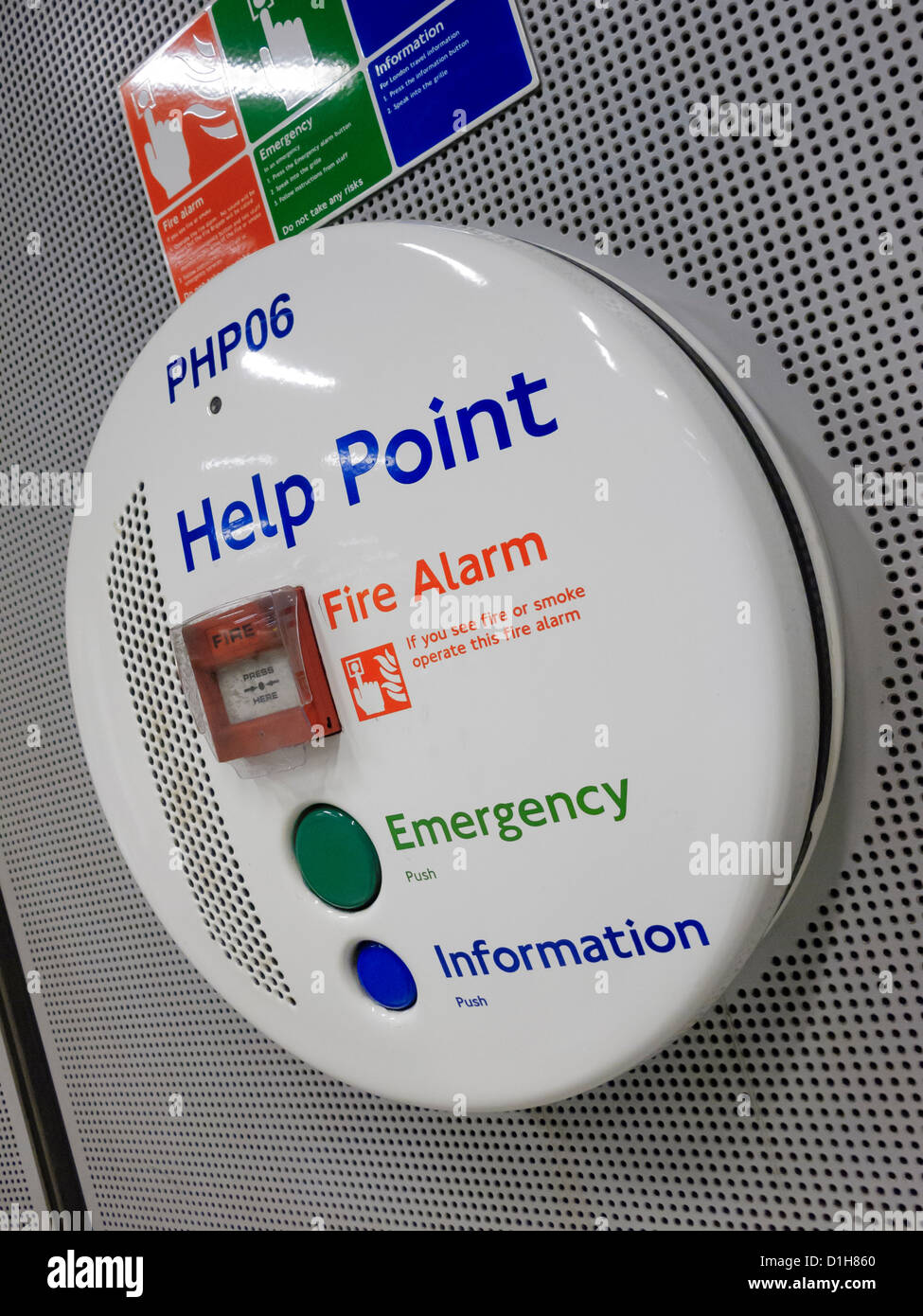 Information Sign Help Point Fire Alarm Emergency - Stock Image