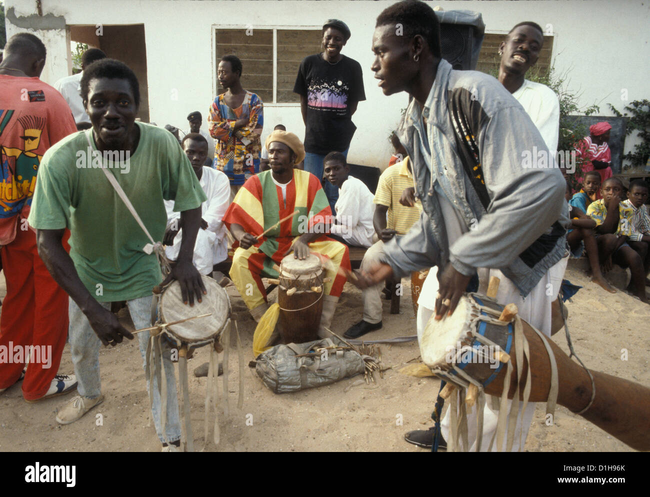 A local band in The Gambia with two drummers - Stock Image