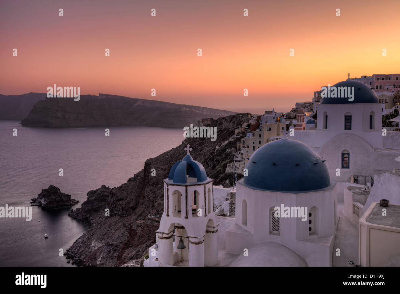 Oia Sunset in Santorini, Greece - Stock Image