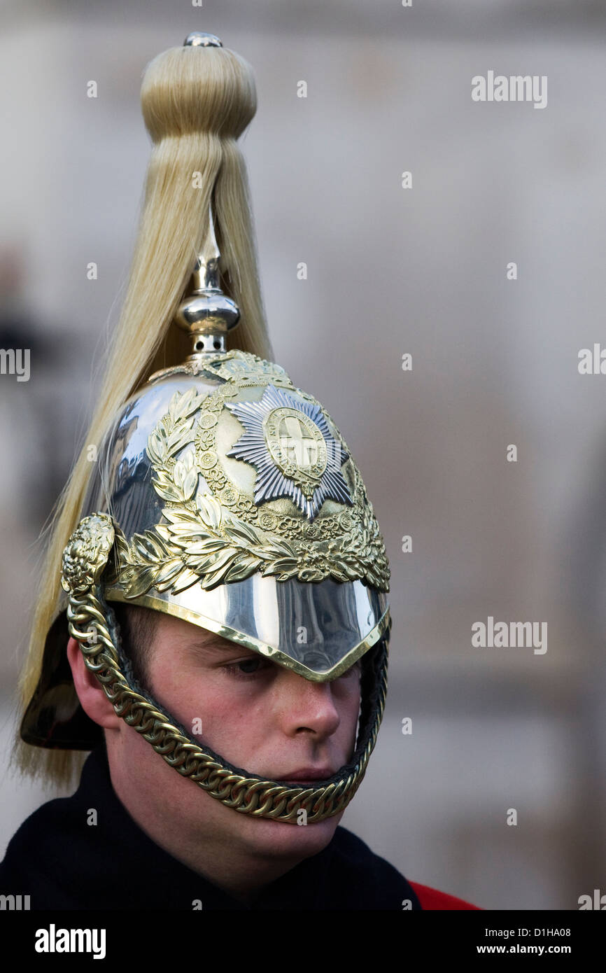 The Queens Household Cavalry close up of his helmet Stock Photo