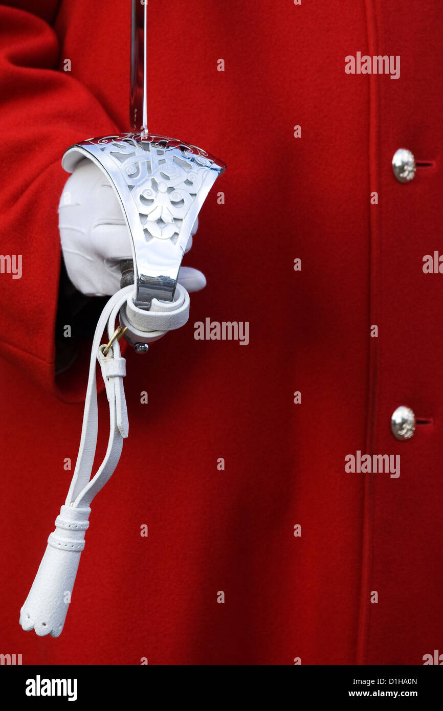 Her Majesty the Queens Life guard close up of uniform and sword handle Stock Photo