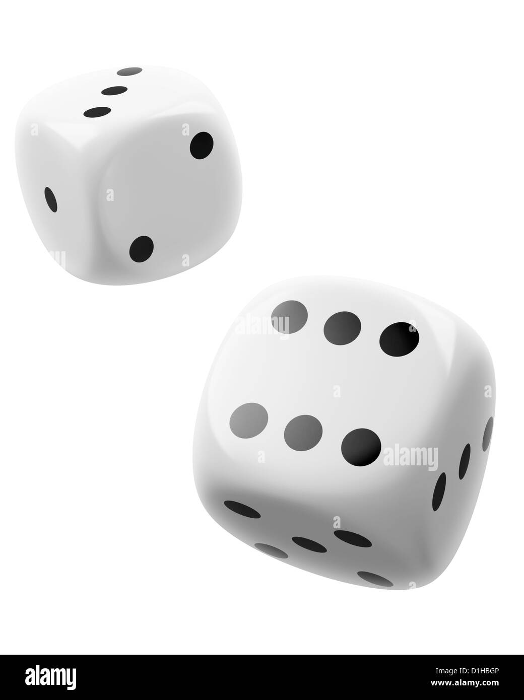 two white dices on white background - Stock Image