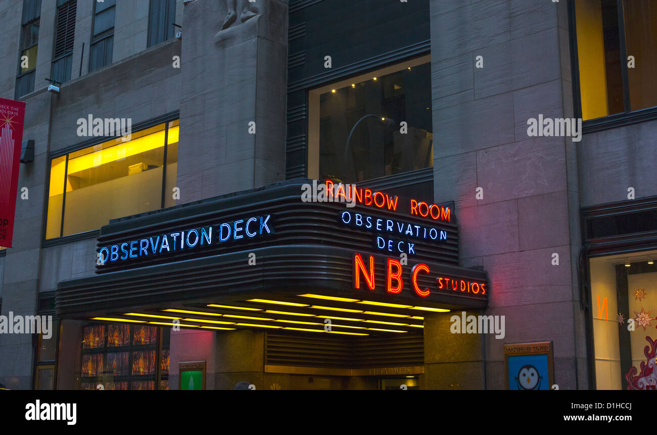 NBC Studios entrance on 50th Street - Stock Image