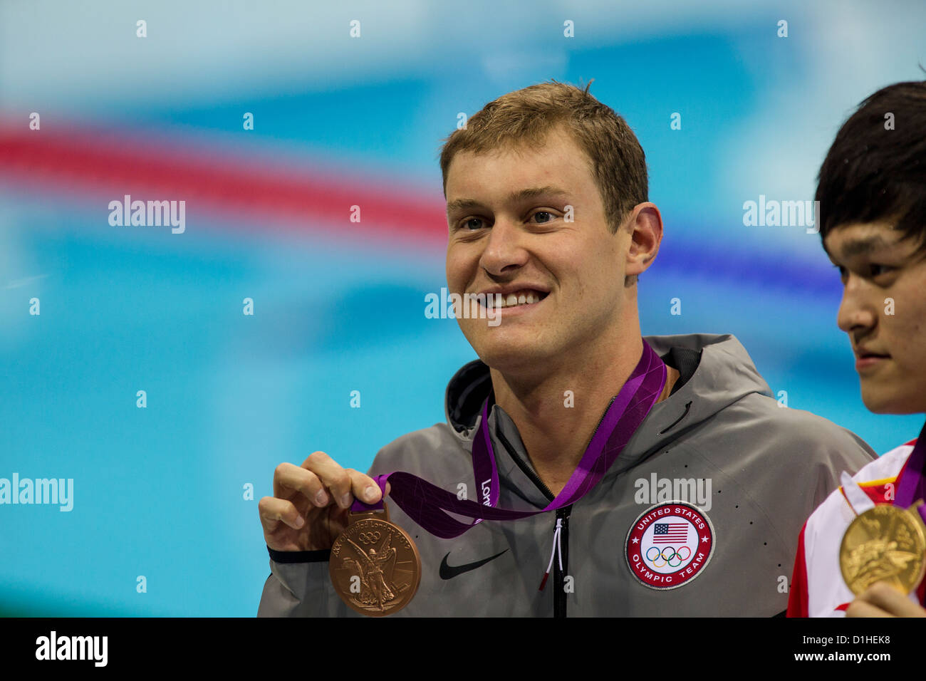Peter Vanderkaay (USA) wins the bronze medal in the Men's 400 meter Freestyle Final at the 2012 Olympic Summer - Stock Image