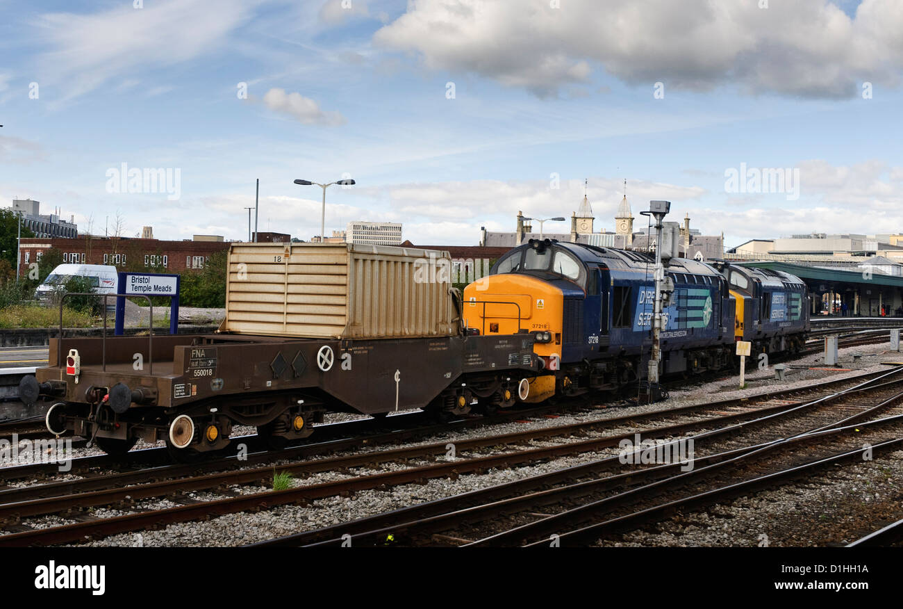 Two class 37 locomotives hauling a nuclear flask through the heavily populated city of Bristol. - Stock Image