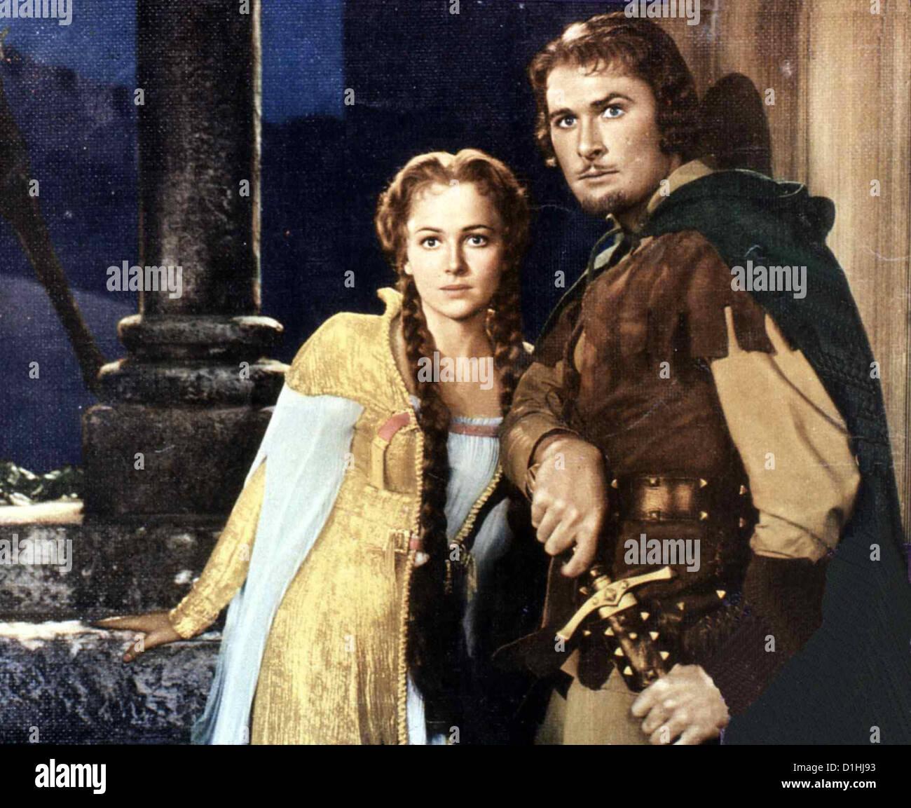 Robin Hood, Koenig Der Vagabunden  Adventures Robin Hood,  Olivia de Havilland, Errol Flynn Robin Hood (Errol Flynn) - Stock Image
