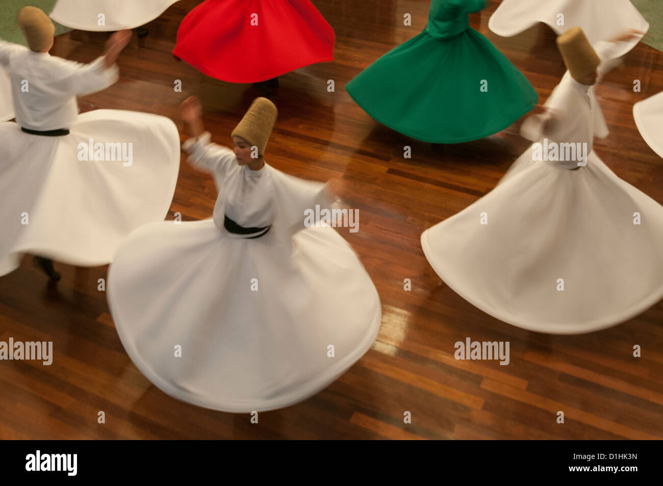 Whirling Dervishes perform in the  Mevlevihane,istanbul,Turkey Stock Photo