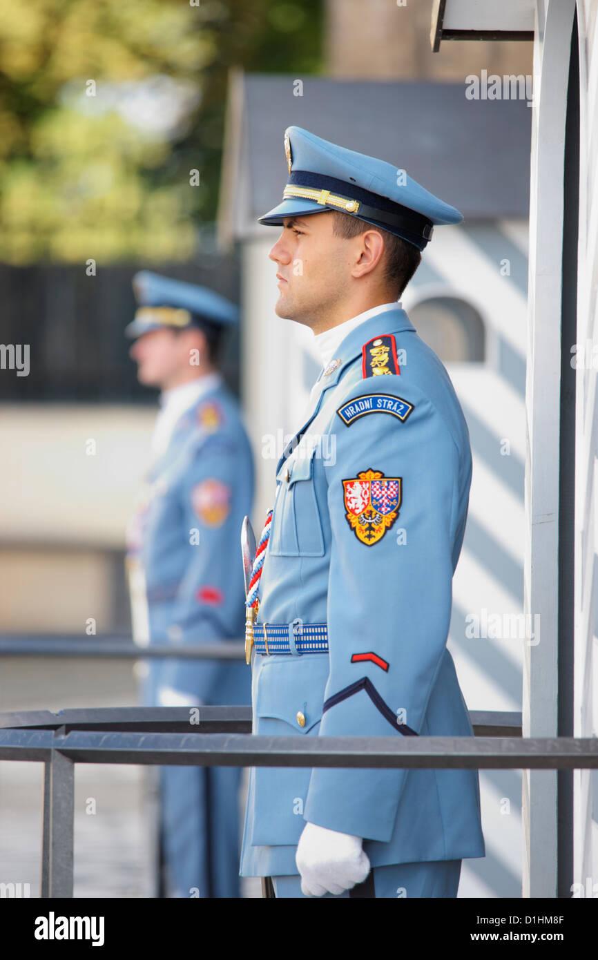 Armed guards on duty outside Prague Castle, Prague, Czech Republic Stock Photo