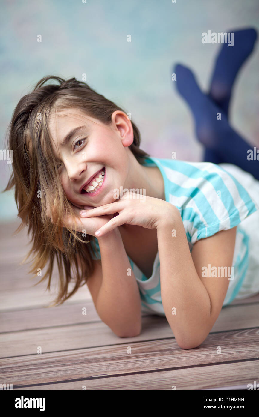Happy young girl enjoying her spare time Stock Photo