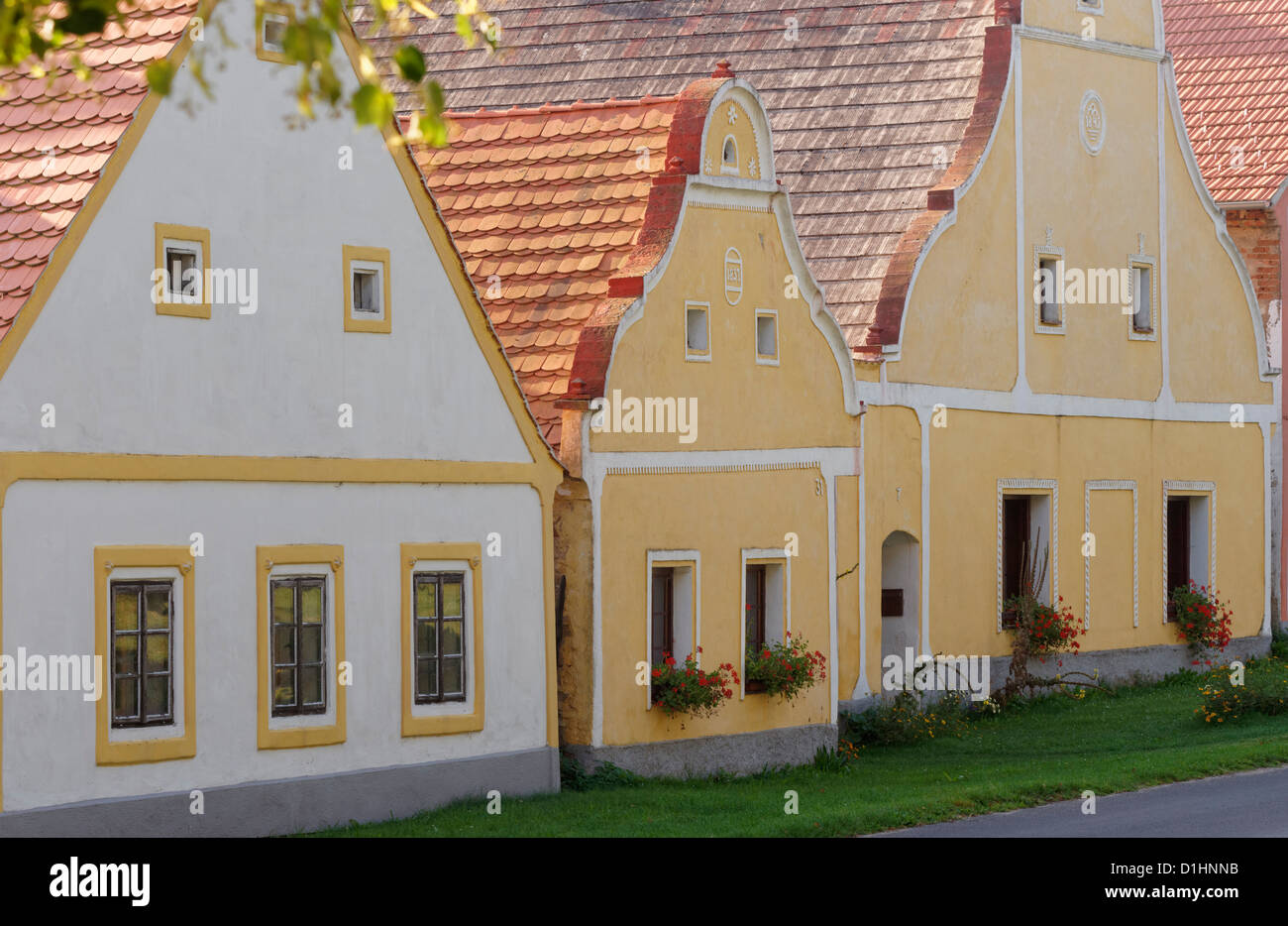 Gables of houses and farmsteads in Holasovice, South Bohemia, Czech Republic - Stock Image