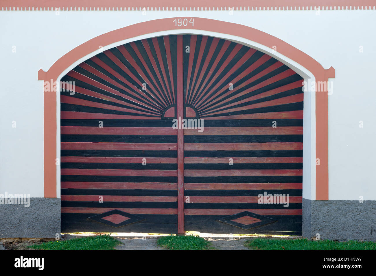 Farmstead gate in Holasovice, South Bohemia, Czech Republic Stock Photo