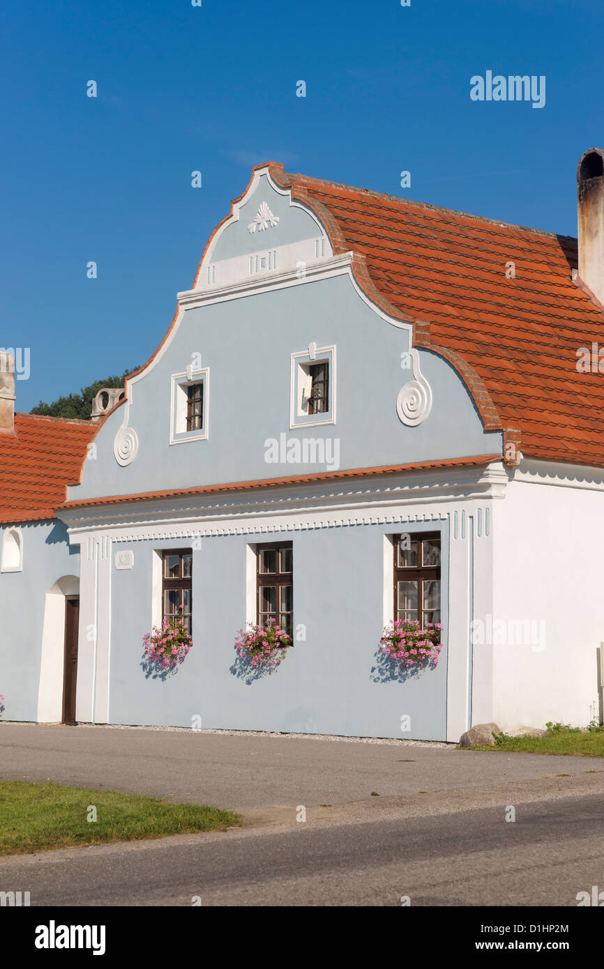Gable of house in Zabori, South Bohemia, Czech Republic - Stock Image