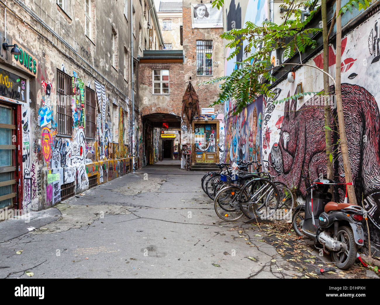 graffiti and street art decorates the inner courtyard of haus stock photo 52636937 alamy. Black Bedroom Furniture Sets. Home Design Ideas