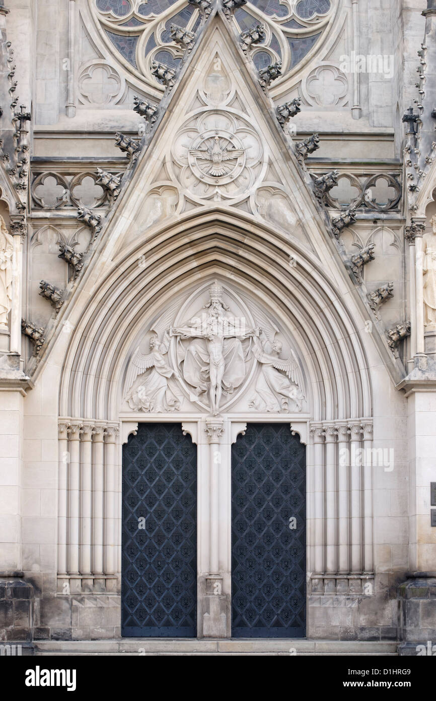 Doorway of St Wenceslas Cathedral, Olomouc, North Moravia, Czech Republic - Stock Image