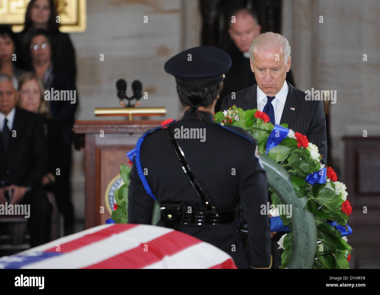 Vice President Joe Biden pays his respect to Senator Daniel Inouye lying in state in the Rotunda of the US Capitol - Stock Image