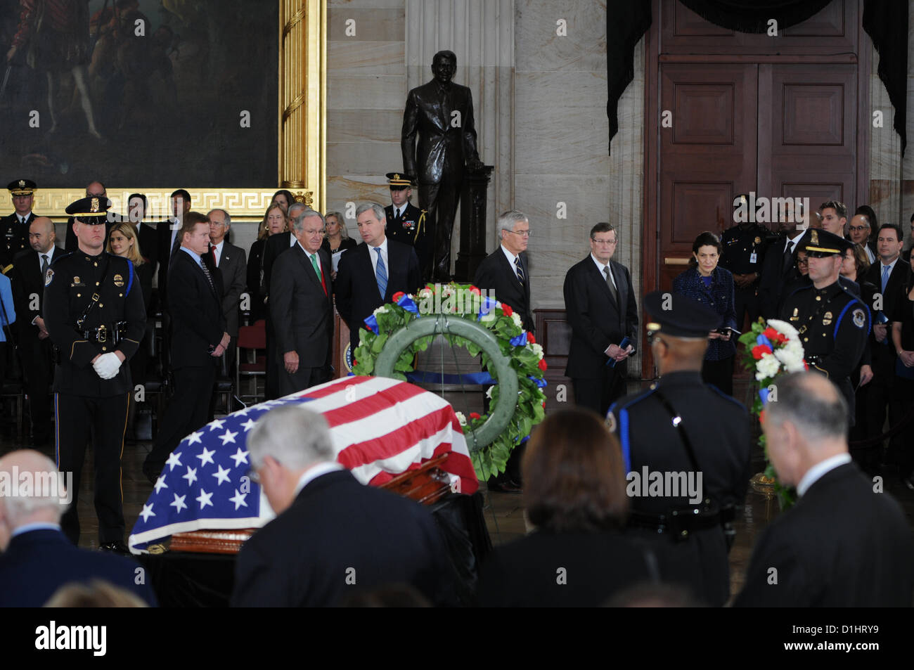 Members of the US Senate pay their respects to Senator Daniel Inouye lying in state in the Rotunda of the US Capitol - Stock Image
