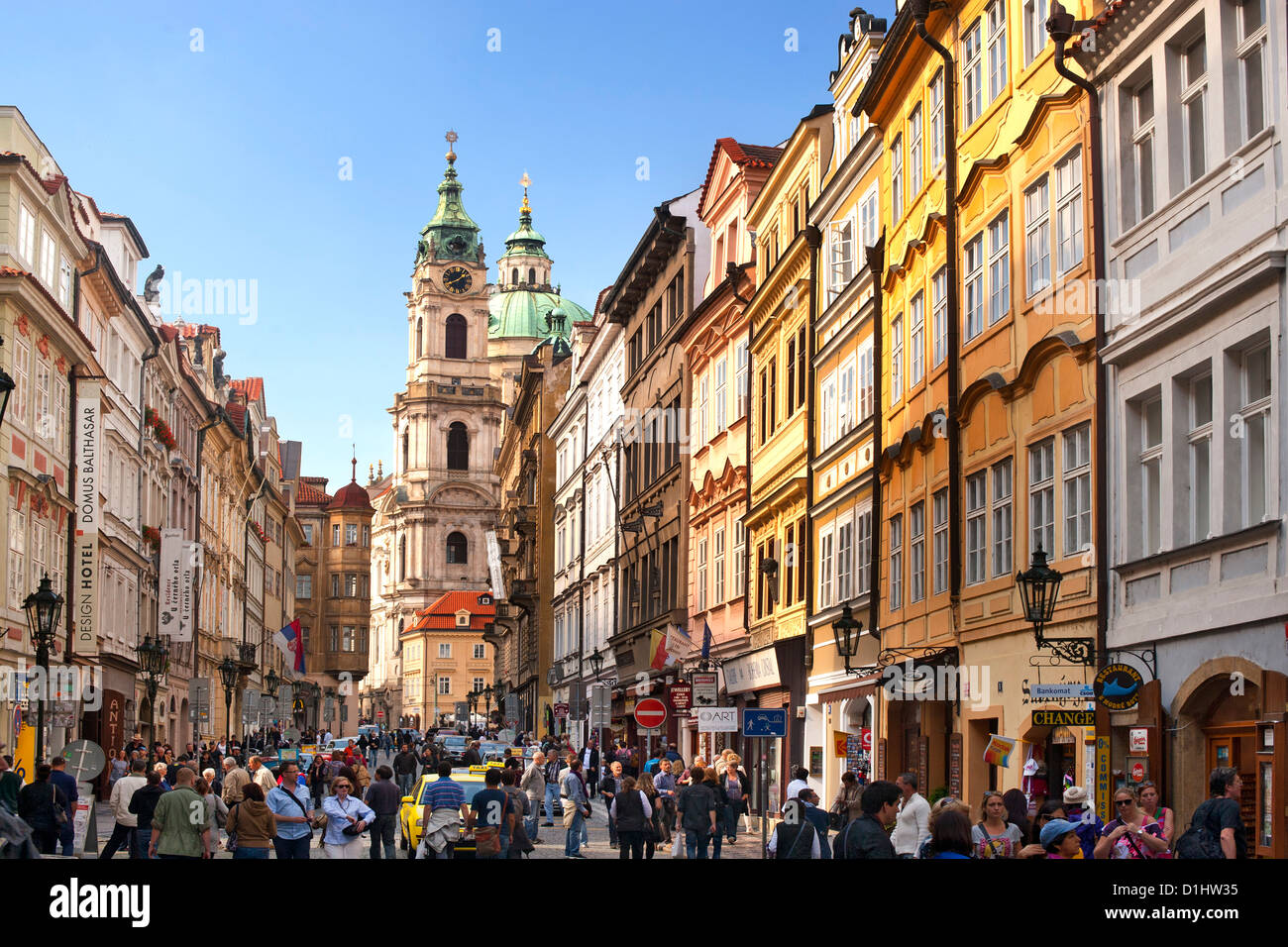 Mostecka street in Prague, the capital of the Czech Republic. - Stock Image