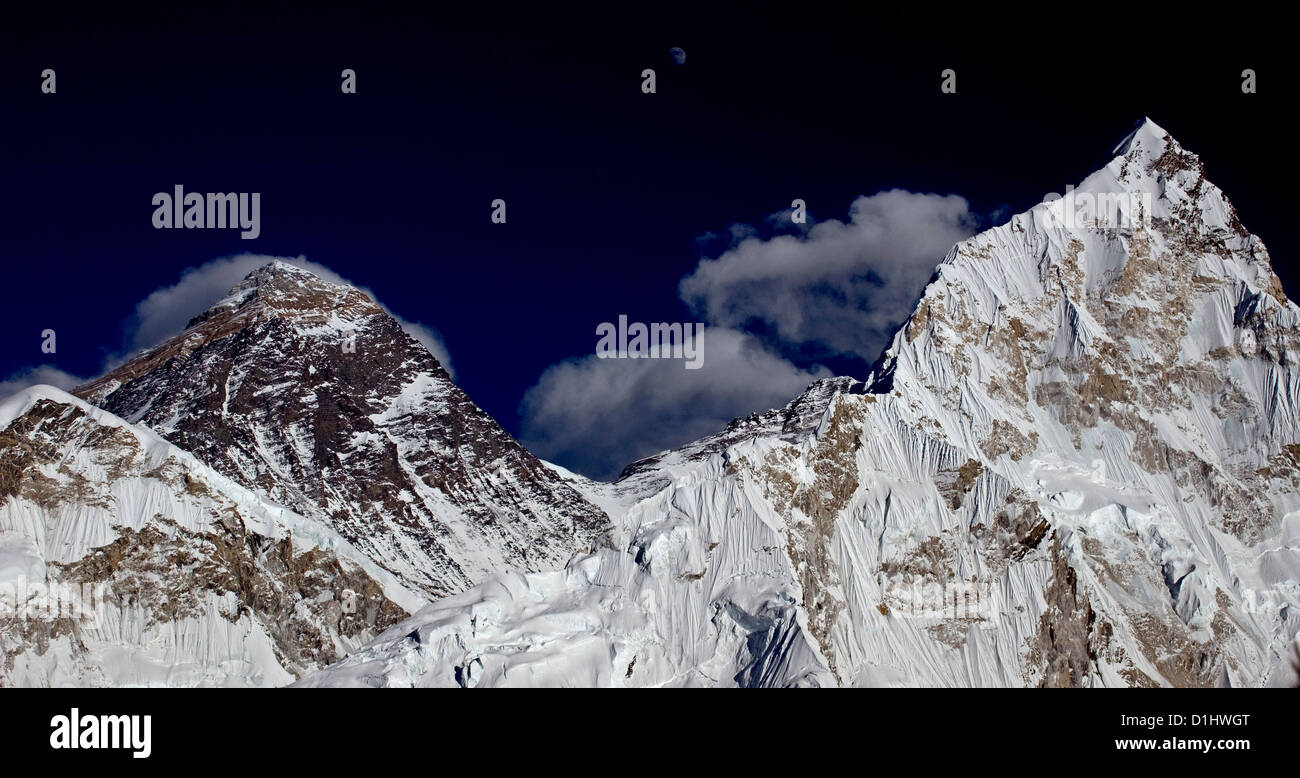 Clouds and moon over Everest and Nuptse from Kala Pattar - Stock Image