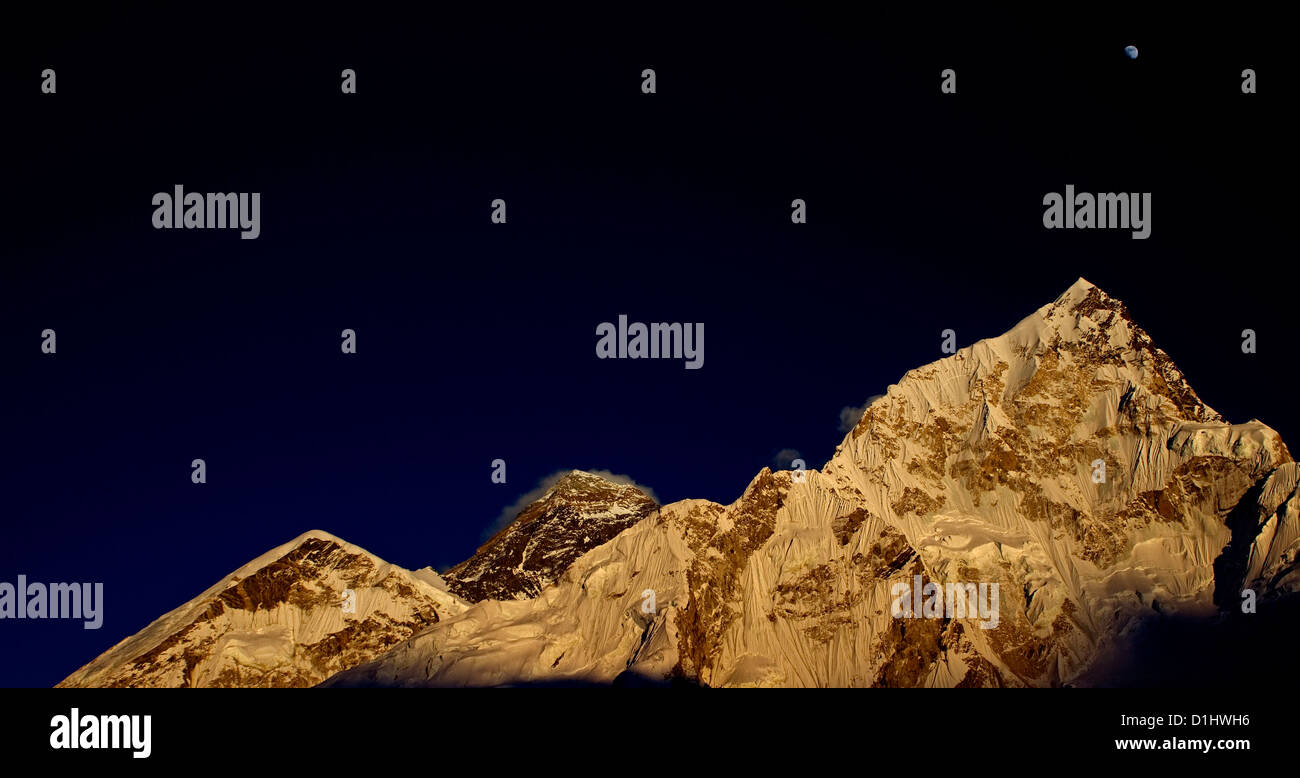 Moon over Everest and Nuptse from Kala Pattar - Stock Image