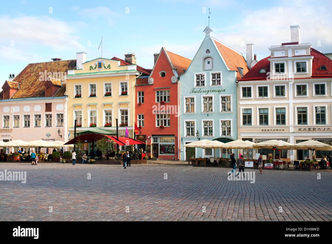 Buildings and restaurants on Raekoja Plats (Town Hall Square) in Tallinn, the capital of Estonia. - Stock Image