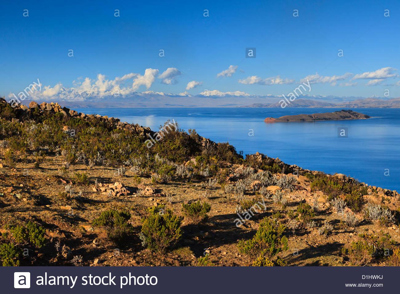 Isla del Sol on the Bolivian Side of Lake Titicaca, Bolivia. Stock Photo