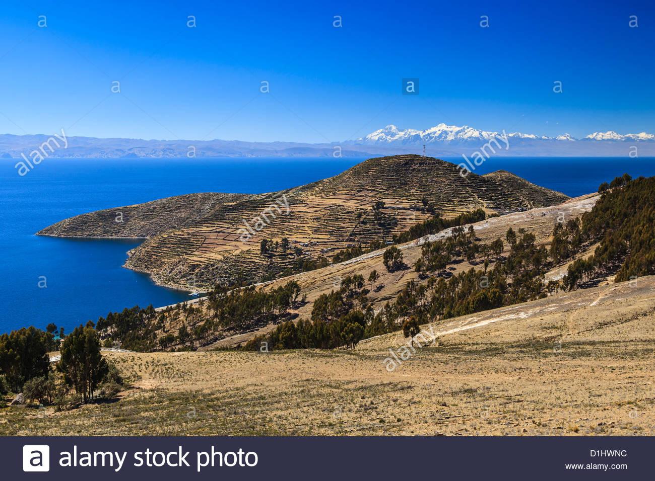 Isla del Sol on the Bolivian Side of Lake Titicaca, Bolivia - Stock Image