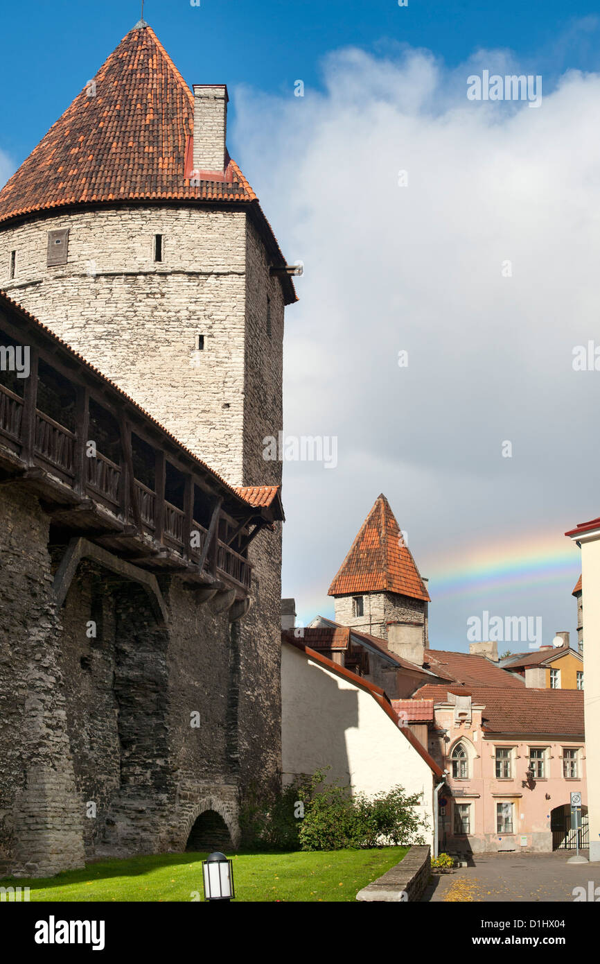 Old town walls in Tallinn, the capital of Estonia. - Stock Image