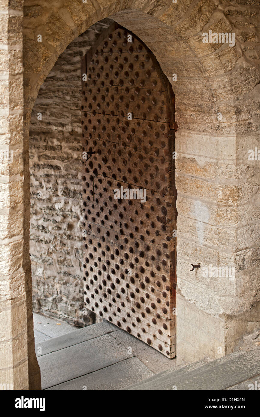 Old doorway in the old town in Tallinn, the capital of Estonia. - Stock Image