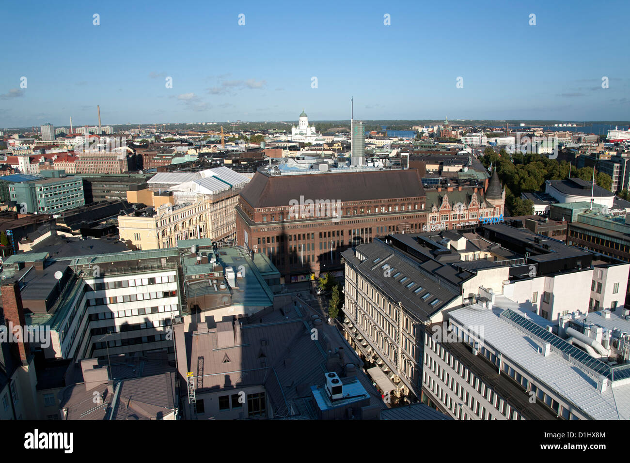 View looking east over the rooftops of Helsinki, the capital of Finland. Taken from the top of the Torni Hotel. - Stock Image