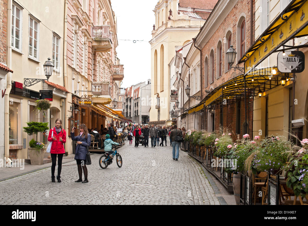 Didžioji Street, the main street in the old town in Vilnius, the capital of Lithuania. - Stock Image