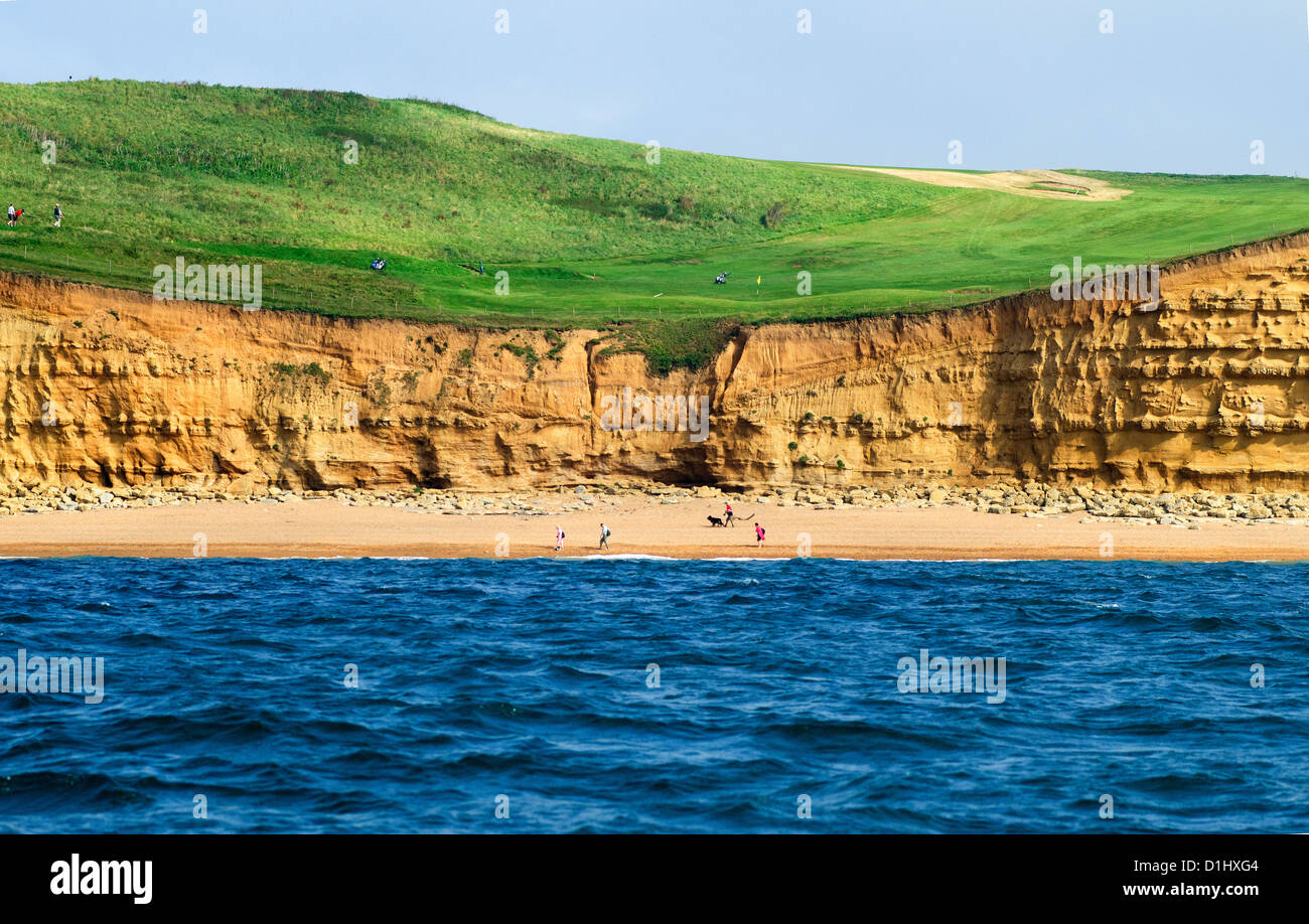 The sixth hole at Bridport and West Dorset Golf Club, East Cliff, West Bay, Bridport, Jurassic Coast, Dorset, from - Stock Image