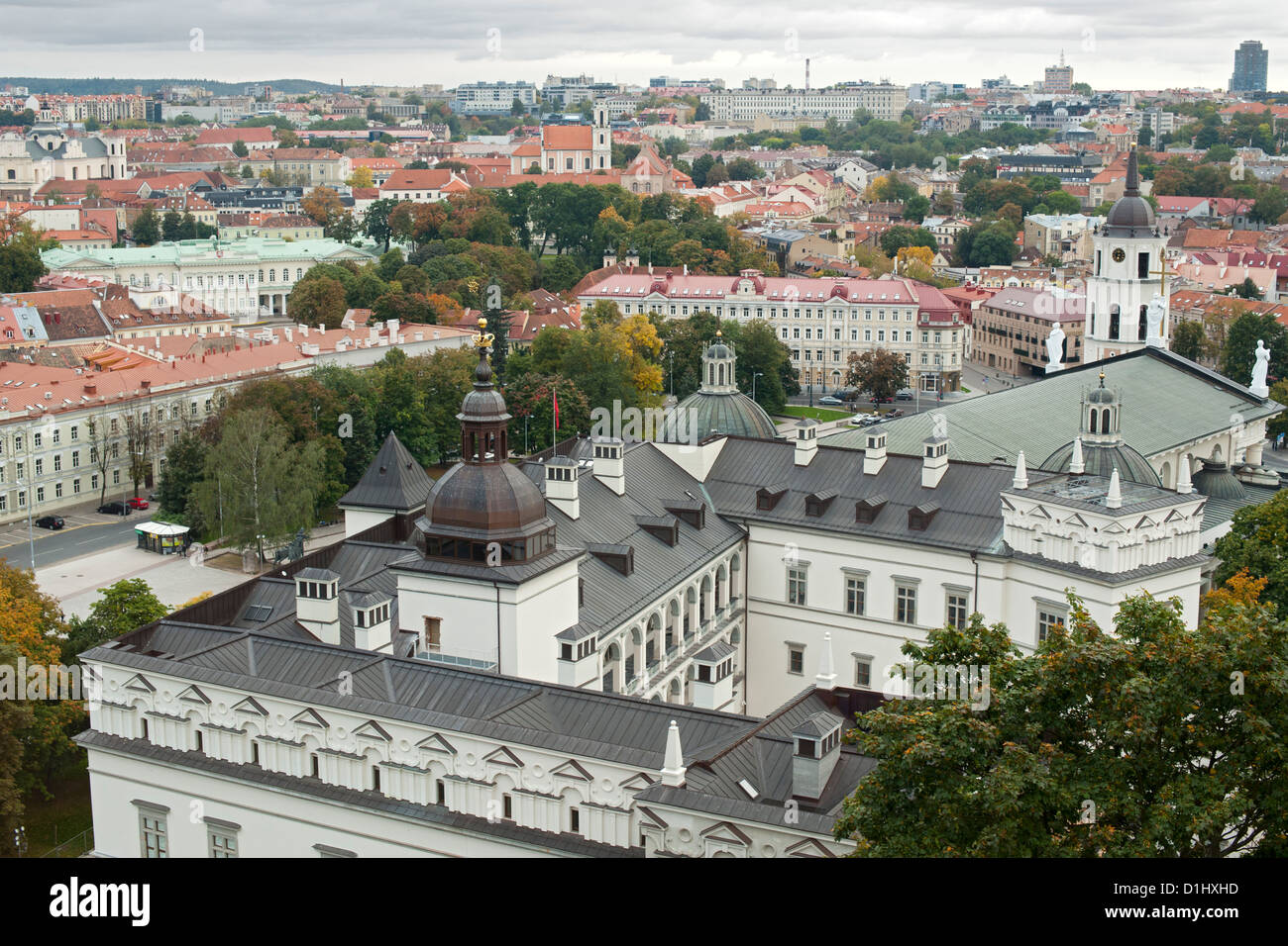 View from Gediminas' Tower across the rooftops of the old town in Vilnius, the capital of Lithuania. - Stock Image